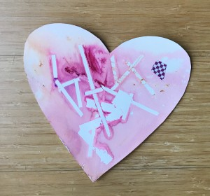 Watercolor heart with tape