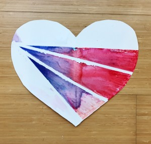 Blue and red watercolor heart with tape