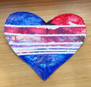 red, white, and blue water color heart